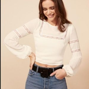 NWT Reformation Marian Top white Size 6